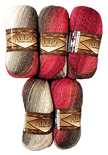 5 x 100 g Alize Glitzerwolle Mehrfarbig mit Farbverlauf und Glitzer, 500 Gramm Metallic - Wolle mit 20% Woll-Anteil (rot braun grau weiß 1984)
