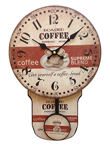 Creative Motion Clock with Coffee Design and Moving Pendulum
