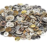 300 Gram Fancy Haberdashery Button & Decorative Assorted Sizes Flat & Shank Sewing & Craft Buttons Made of Plastic Elegant Random Detailed Shapes Design (LZ040Metal)
