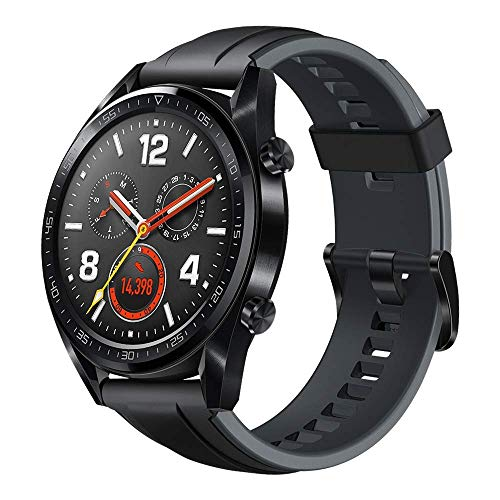 Huawei Watch GT Sport Smartwatch (46 mm Amoled Touchscreen, GPS, Fitness Tracker, Herzfrequenzmessung, 5 ATM wasserdicht) Schwarz