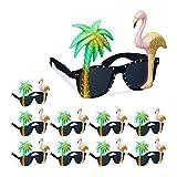 Relaxdays 10 x Partybrille Flamingo & Palme, Goldener Glitzer, getönte Gläser, Strandparty, Hawaii...