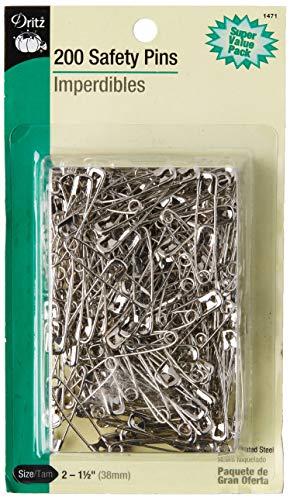 Dritz 1471  200-Piece Safety Pins, Size 2, Nickel Finish