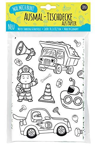 Papier-Tischdecke zum Ausmalen für Kinder, Motiv Fahrzeuge und Baustelle, Kindertischdecke Jungen, Kindergeburtstag Jungen, Kinderbeschäftigung , Mal Mich Bunt