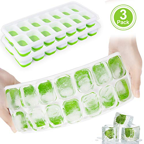 Ice Cube Trays with Lids, Adoric 3 Pack Silicone Ice Cube Molds Easy Release, Flexible and BPA Free Ice Tray with Spill-Resistant Removable Lid for Whiskey, Cocktail, Dishwasher Safe