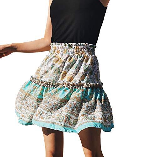 sweetlife Estate da Donna Bohemian Stampato a Vita Alta Piegata a Pleated A-Line Beach Mini Gonna Skirt Stampato da Donna