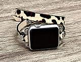 Leopard Print Vegan Leather Bracelet For Apple Watch 38mm 40mm 42mm 44mm Series 5 4 3 2 1 Handmade Double Wrap Women Fashion Design iWatch Band Adjustable Size Strap Smartwatch Wristband