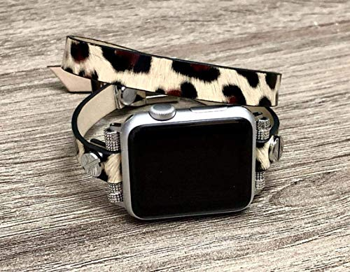Leopard Print Vegan Leather Bracelet For Apple Watch 38mm 40mm 42mm 44mm Series 5 4 3 2 1 Handmade Double Wrap Women Fashion Design iWatch Band Adjustable Size Strap Smartwatch Wristband