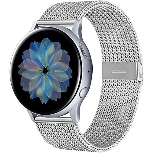 CAVN 20mm Armbänder Kompatibel mit Samsung Galaxy Watch Active 2 40mm 44mm / Active / Galaxy Watch 3 41mm Armband, Magnetschloss Edelstahl Metall Ersatzband Ersatzarmband Uhrenarmbänder für Active 2
