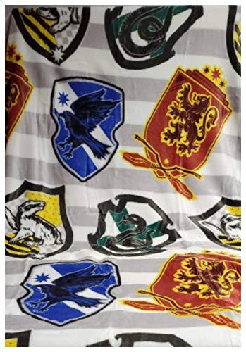 Offizielle Harry Potter Haus-Fleece-Decke, Überwurf, gestreift, Grau / Weiß