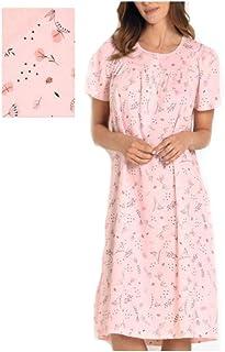 Vilfram Vestaglia da Notte Donna a Manica Lunga Bluette in Tessuto trapuntino con Collo Sportivo Chiusura a Bottoni Tasche sul Davanti