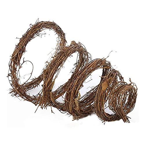 YuKeShop Corona de rama, de vid natural, ramita de uva, guirnalda de ratán, anillos de madera, decoración grande para el día de San Valentín