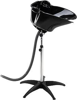 Mefeir Black Portable Shampoo Sink with Adjustable Height & Drain,Salon Hair Washing Basin Barber Deep Bowl