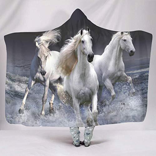 Cuddly - Sudadera con capucha y capucha para hombre, diseño de olas de mar, color blanco, 150 x 200 cm