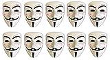 HAC24 10er Set V wie Vendetta Maske Guy Fawkes Halloween Fasching Maske