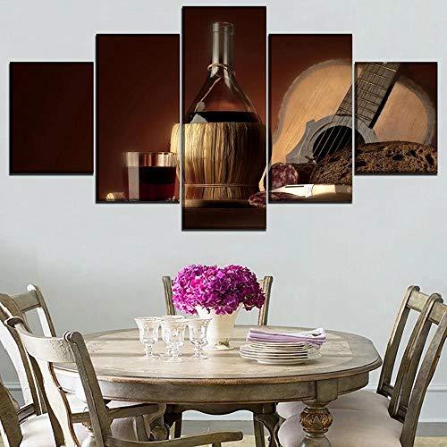 YOUQIANREN Cuadro en Lienzo HD Impresión de 5 Piezas Guitarra y Botella de Copa de Vino de Pinturas en Lienzo Imagen Gráfica Cartel Decorativo Mural Art Room Decoración Salon Enmarcado (150cmx80cm)