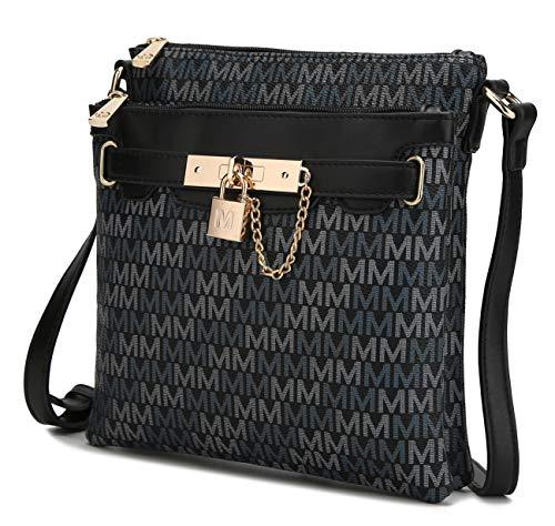 MKF Crossbody Bags for Women – PU Leather Lady Pocketbook Handbag – Side Messenger Purse, Padlock, Shoulder Strap Black