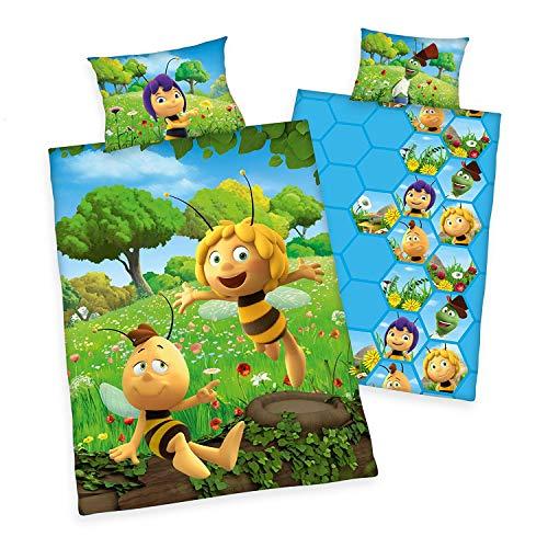 Arle-Living 3 TLG. Baby Bettwäsche Set mit Wende Motiv: Biene Maja - Die Honigspiele - Renforcé 100x135 cm + 40x60 cm + 1 Spannbettlaken 70x140 cm (Honigspiele)