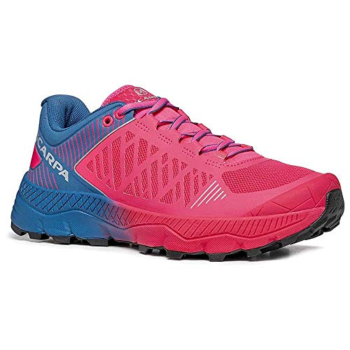 Scarpa Spin Ultra WMN, Chaussures de Trail Femme, Rose Fluo-Blue Steel ARS6 Velox Max LB, 39 EU