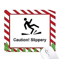 注意のつるつるしたブラック・シンボル ゴムクリスマスキャンディマウスパッド