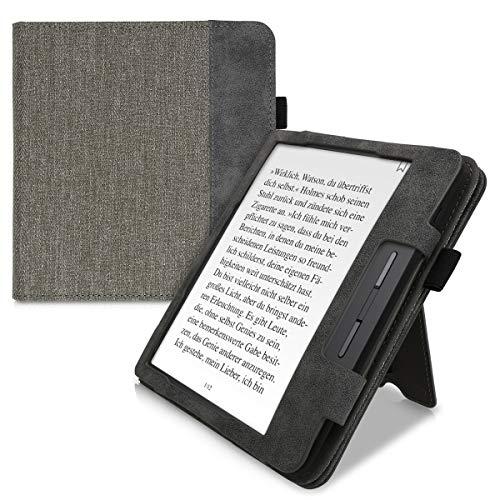 kwmobile Flip Hülle kompatibel mit Tolino Vision 5 - Handschlaufe - Cover Grau Schwarz