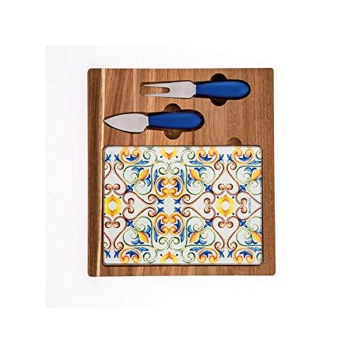 BRANDANI Medicea - Tabla de cortar para queso de madera de acacia y cristal con 2 cuchillos de acero inoxidable