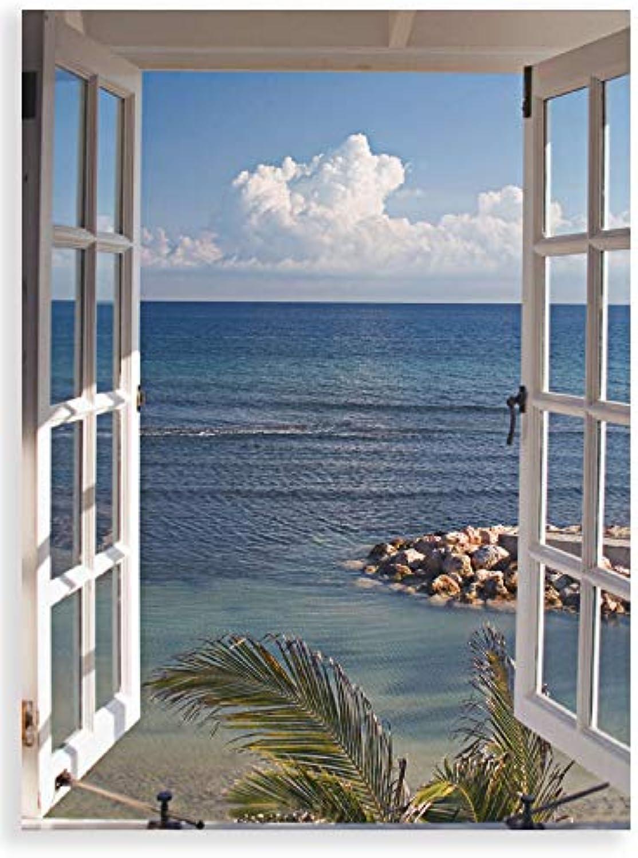 Artland Qualittsbilder I Glasbilder Deko Glas Bilder 60 x 80 cm Landschaften Fensterblick Foto Blau G3FP Fenster zum Paradies