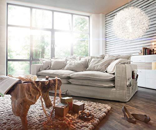 DELIFE Big Sofa Noelia Elfenbeinfarben 240x145 cm mit Kissen Hussensofa Sofa Couch
