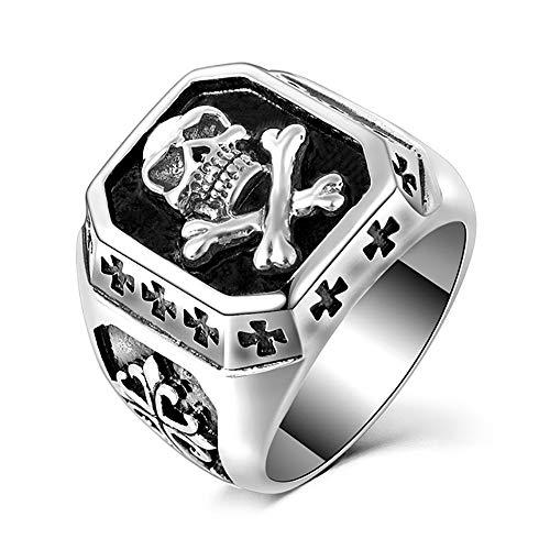 BOBIJOO Jewelry - Bague Chevalière Crâne Adam Tête de Mort Croix Templier Acier Argenté Biker Triker - 58 (8 US), Acier Inoxydable 316