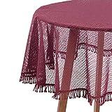 HOLISTAR 0800128 Gartentischdecke Rund in Bordeaux 140 cm Tischdecke mit Quaste Tischtuch aus Weichschaum rutschfest wetterfest witterungsbeständig Outdoor