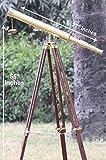 Telescopio de latón Brillante náutico de Barril único, trípode de Madera, Ideal para decoración del hogar, Acabado en latón y marrón