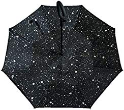 Reverse Folding Inverted Umbrella Double Layer Wind Proof UV Proof Inside Out Car Self Standing Umbrella (Starry Sky)