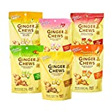 Prince of Peace Ginger Chews Candy Bundle — Original, Lemon, Orange, Mango, Lychee and Peanut Butter Flavors — 100% Natural, Vegan and Gluten-Free Candies, Pack of 6, 4oz (113g)