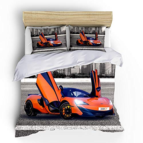 SHOMPE Kids Sports Car Duvet Cover Sets Full Size,3 Piece Race Car Bedding Sets with Pillowcases for Teens Boys Girls Bedroom Decor,NO Comforter