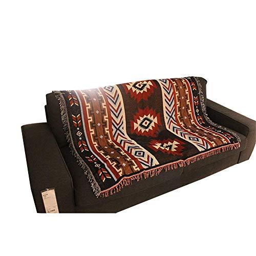 QEES Nacional Wind Retro patrón Tejido de algodón sofá decoración de la Pared Indio sofá Toalla, Playa Multifuncional Knit Manta Acolchada Manta (gt19)