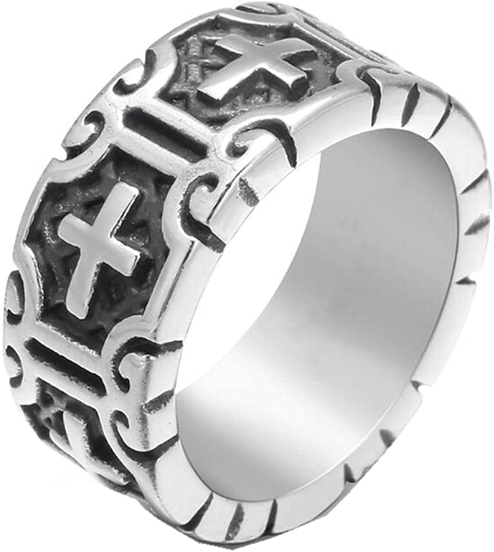 Men's Stainless Steel Cross Rings Retro Weekly update Men Max 81% OFF Religous Jewel