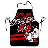 NiYoung Polyester Apron Bib Aprons Extra Long Ties Women Men Chef Lady's Apron for Painting Baking, Machine Washablen/Waterdrop Resistant - Tampa Bay Buccaneers Football Team Logo