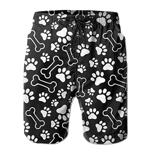 The Dog A Bone Ultra-Léger Hommes Été Surf Séchage Rapide Maillot de Bain Short de Plage Pantalon avec Poche - Blanc - Medium