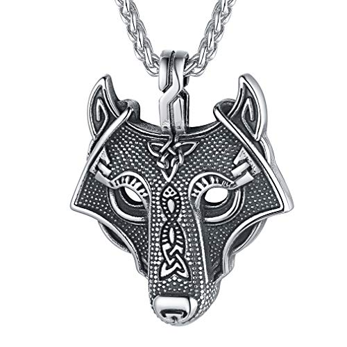 FaithHeart Viking Wolf Head Pendant Odin Power Amulet Necklace Stainless Steel Jewellery Runic Accessories for Men Steampunk Jewellery