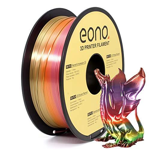 Amazon Brand - Eono Silk PLA Filamento para Impresora 3D, 1.75mm, 1kg, Color Arcoiris,rainbow color, arcoiris de seda,Impresiones con Acabado Brillante y Nacarado de aspecto Sedoso,.
