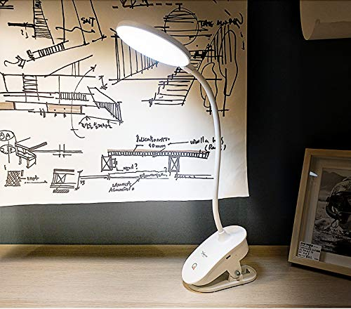 Led Desk Lamp, Can Be Clamped to Stand Dual Purpose Gooseneck Lamp, Battery Replaceable Desk Lamp, 360-Degree Adjustable Eye Protection Lamp, Rechargeable and Plug-in Led Reading Lamp