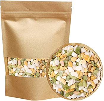 Mixed Color Decorative Rocks Stones Pebbles for Plants Garden Gravel White Rocks with Yellow Green Pastel Accents Vase Filler Rocks Natural Stone Top Dressing for Potted Plants and Succulents 2.2 lbs