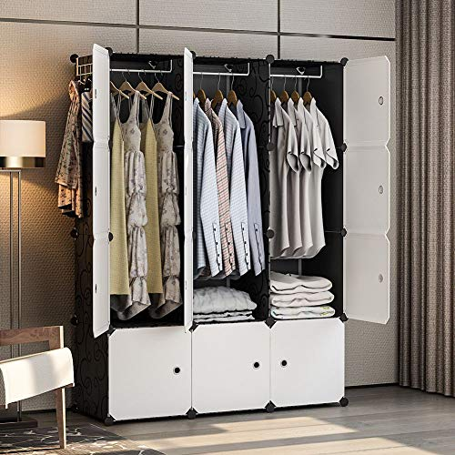 GEORGE&DANIS Portable Closet Wardrobe Plastic Clothes Dresser Cube Organizer Storage Carbinet Shelf DIY Furniture, Black, 18 inches Depth, 3x4 Tiers