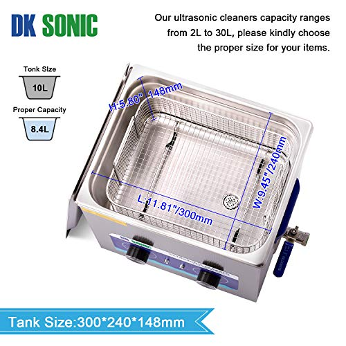 Commercial Ultrasonic Cleaner-DK SONIC 10L 240W Sonic Cleaner with Heater Basket for Jewelry,Ring,Eyeglasses,Denture,Watchband,Coins,Metal Parts,Carburetor,Record,Circuit Board etc(10L,220V)