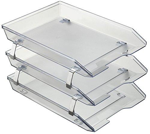 Acrimet Facility 3 Tier Letter Tray Front Load Plastic Desktop File Organizer (Clear Crystal Color)