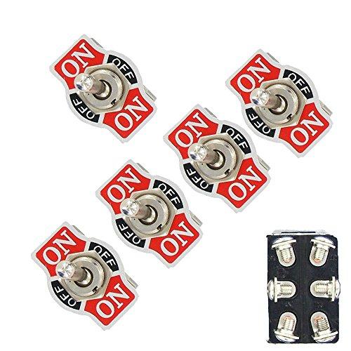 Mintice™ 5 X Interrupteur Inverseur à Bascule Levier en Métal ON/OFF/ON 6 Terminal Pin DPDT Poids Lourd 20A 125V 15A 250V Voiture Moto