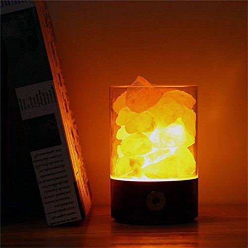 Salzlampe mit USB Kebel 3W Salzkristalllampe vom Himalaya Salzleuchte Nachttischlampe Tragbar 5V Tischlampe (Schwarz2)