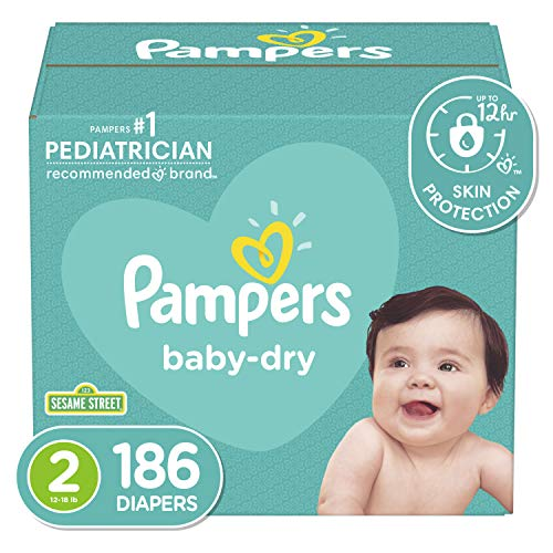 Diapers Size 1, 204 Count – Pampers Baby Dry Disposable...