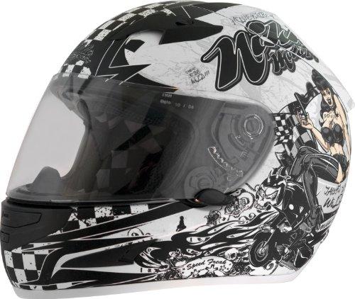 Nikko Helme N916# 3Casco da Moto integrale con visiera parasole bianco opaco