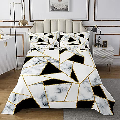 Marmor Geometrische Tagesdecke 170x210cm,Goldene Linie Marmordruck Bettdecke Set für Kinder Mädchenzimmer,Schwarz & Weiß Dekorativ gesteppt mit 1 Kissenbezug, 2 Stück