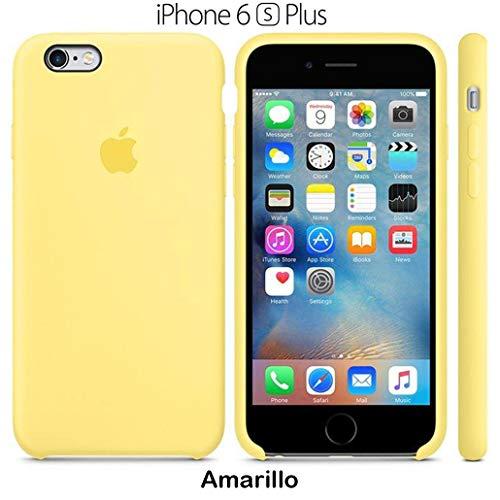 Funda Silicona para iPhone 6 Plus y 6s Plus Silicone Case, Calidad, Textura Suave, Forro Interno Microfibra (Amarillo)